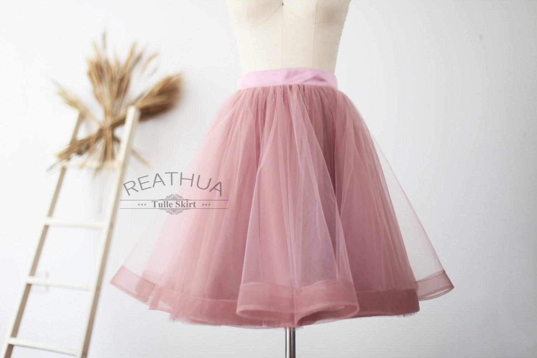 Mauve Horsehair Tulle Skirt/Short Women Skirt/TUTU Tulle