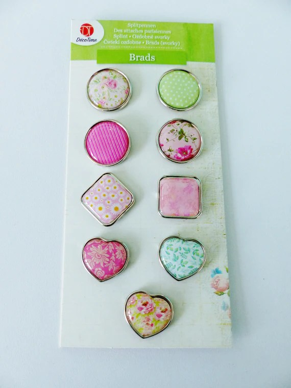 Set of 9 Pastel French Brads