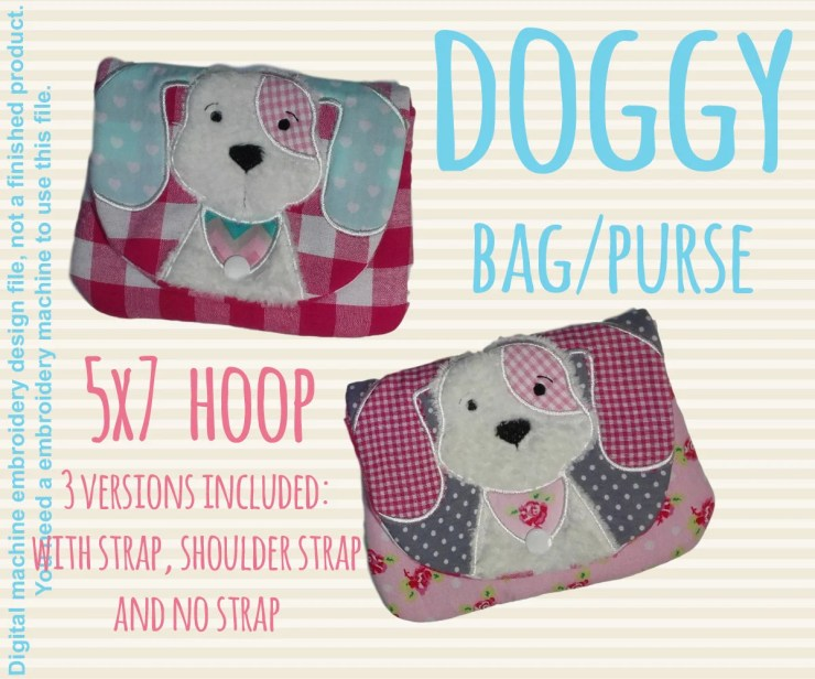 5x7 hoop DOG bag/purse, completely made in TWO hoopings! Machine Embroidery Design File, digital download