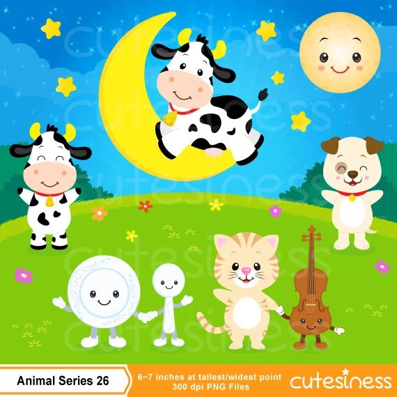 Hey Diddle Diddle Clipart Cow Clipart Nursery Clipart