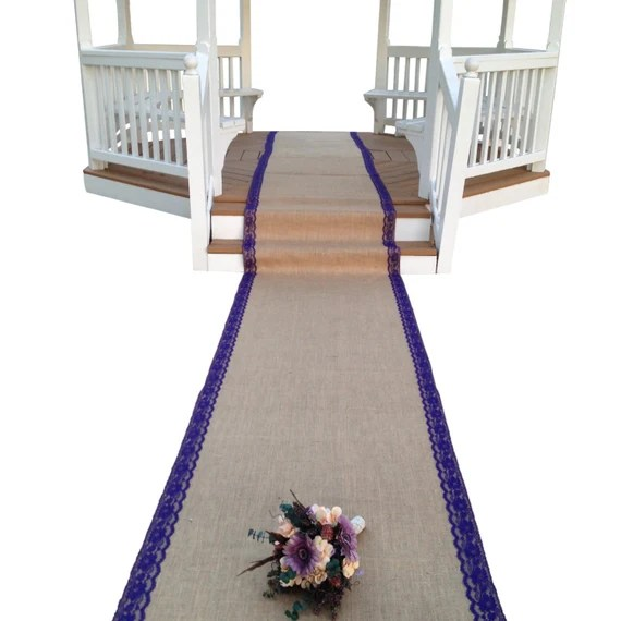 35ft Burlap and Lace Aisle Runner for Rustic Looks by DawnWeddingDesigns