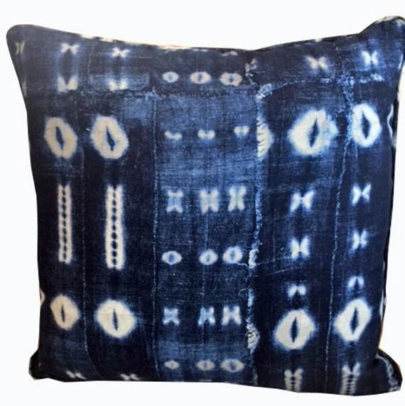 Indigo blue print decorative pillow