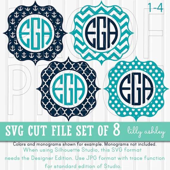 Download Monogram SVG Files Set of 8 cutting files SVG/JPG formats