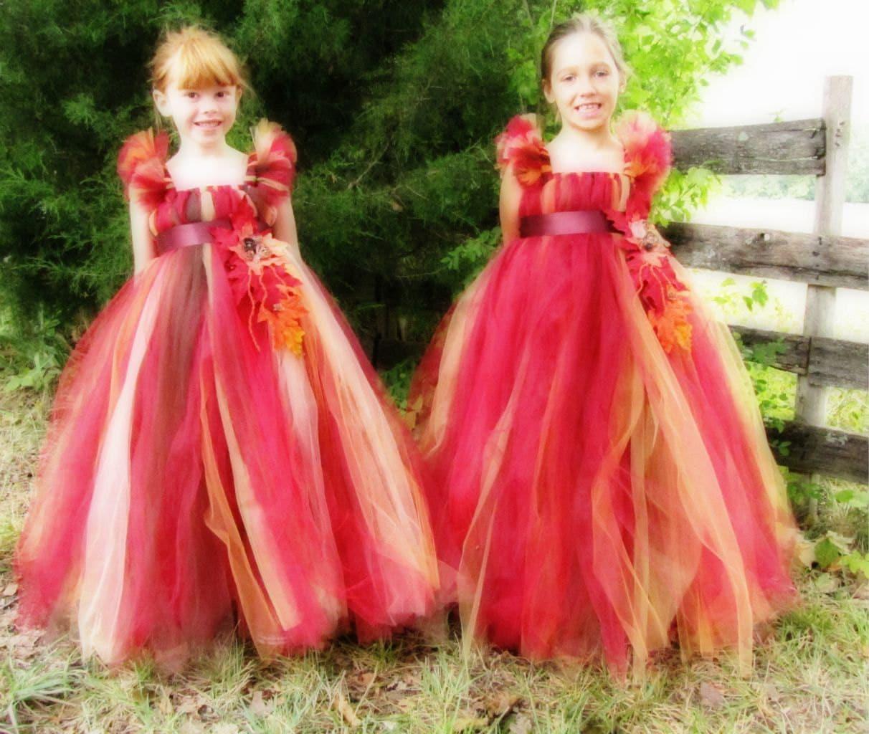 8a7b48a971 Fall Colored Tutu Flower Girl Dress