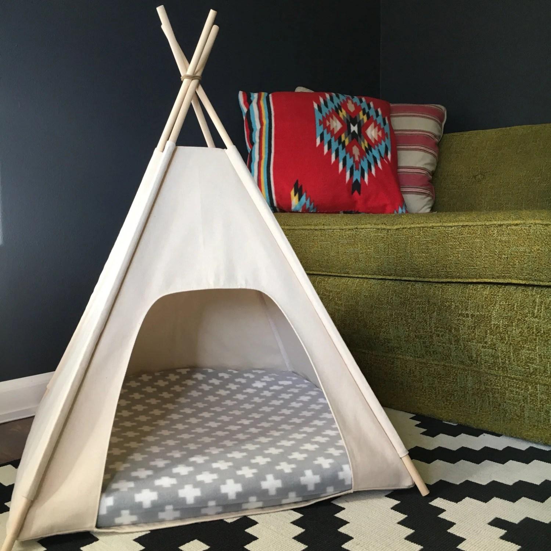 Small DogCat Teepee Pet Tent 24 Base Natural