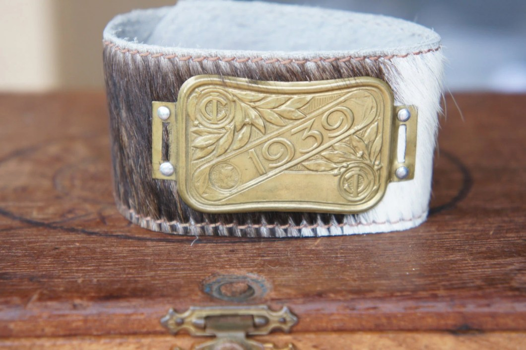 Cow Hide Cuff with 1939 F...