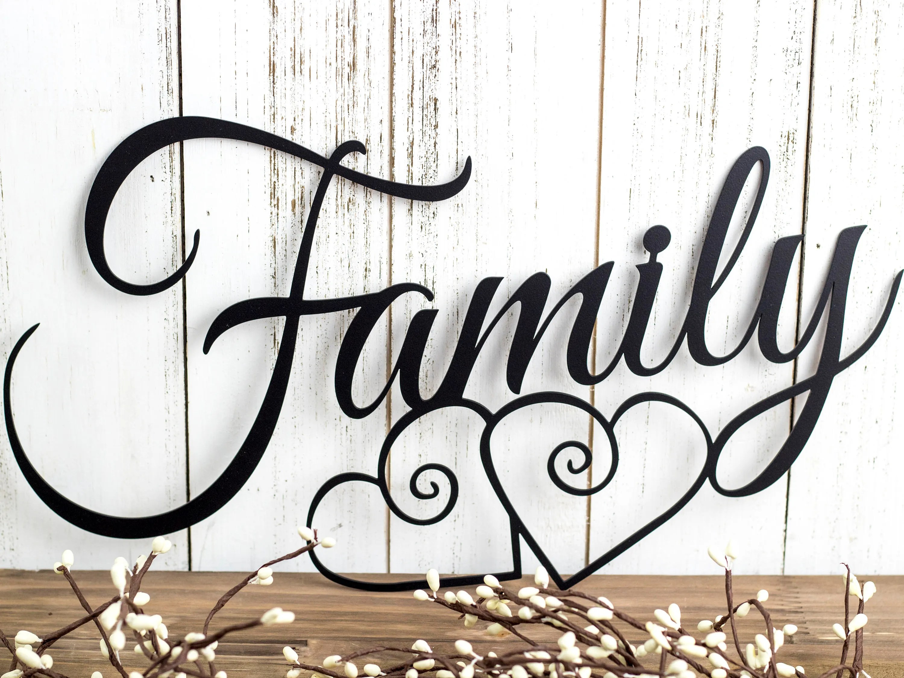 Family Metal Wall Art Hearts Family Sign Metal Sign
