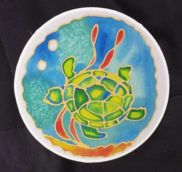 "Sea turtle window ornament, Suncatcher, Original hand painted silk art, 6"" diameter by artist, stained glass look, window art, wall decor"