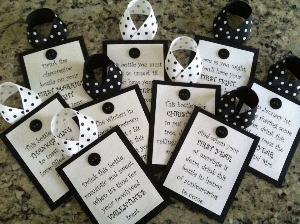 Bridal Shower Wine Tags Black And White