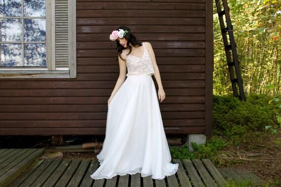 Bridal Separates Crop Top Wedding Dress Casual Wedding