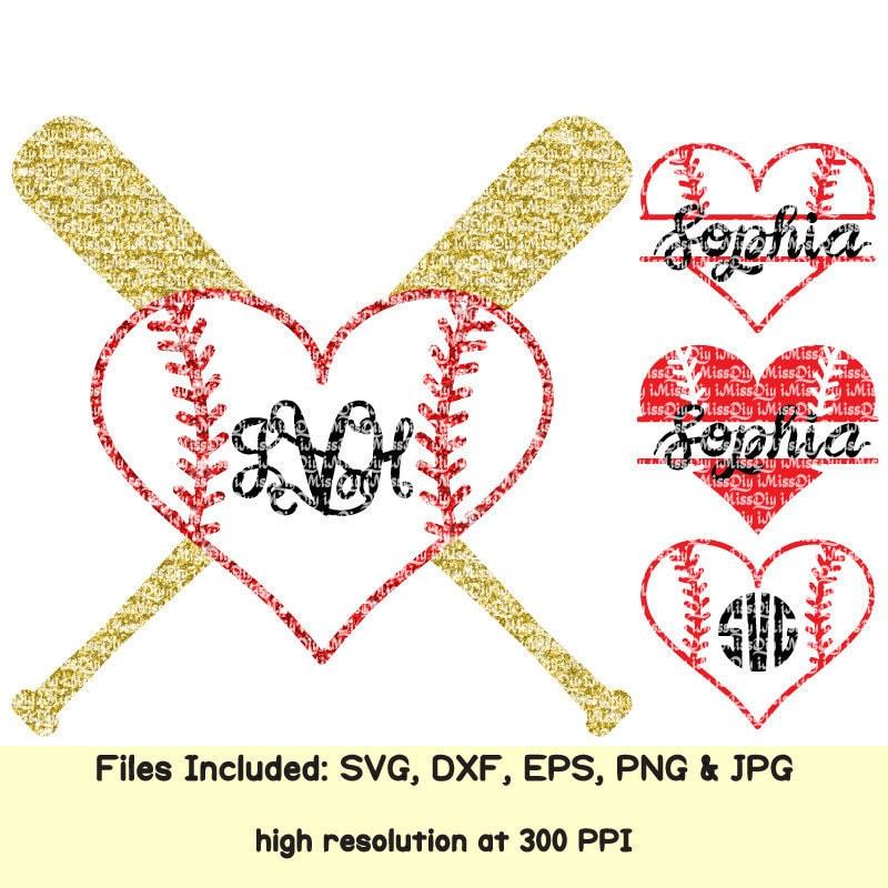 Download Love Softball Baseball svg Heart svg stitches laces mom bat