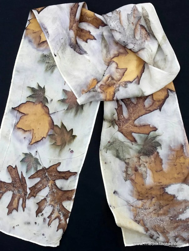 "Stunning Ecoprinted Silk Scarf, maple, oak designs & colors imprinted from Nature, 8"" x 72"", Natural silk art by artist, OOAK, USA ship FREE"