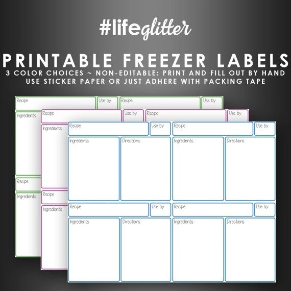 Blank Freezer Bag Labels