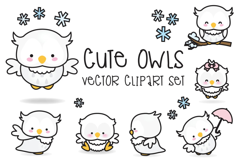 Premium Vector Clipart Kawaii Owls Cute Owls Clipart Set