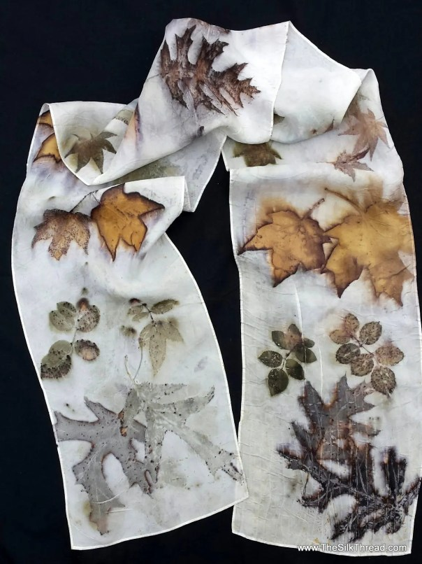 "Ecoprinted Silk Scarf, maple, oak and rose designs & colors imprinted from Nature, 8"" x 72"", Natural silk art by artist, OOAK, USA ship FREE"