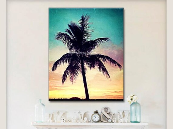 Seascape Palm Tree Wall Art Teal Coral Yellow Wall Art
