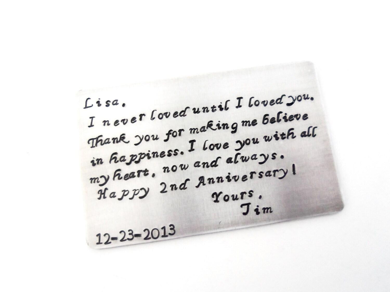 2nd Year Anniversary Gift Anniversay Gift Husbands Gift