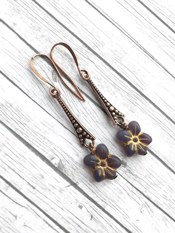 Long purple blossom flower earrings