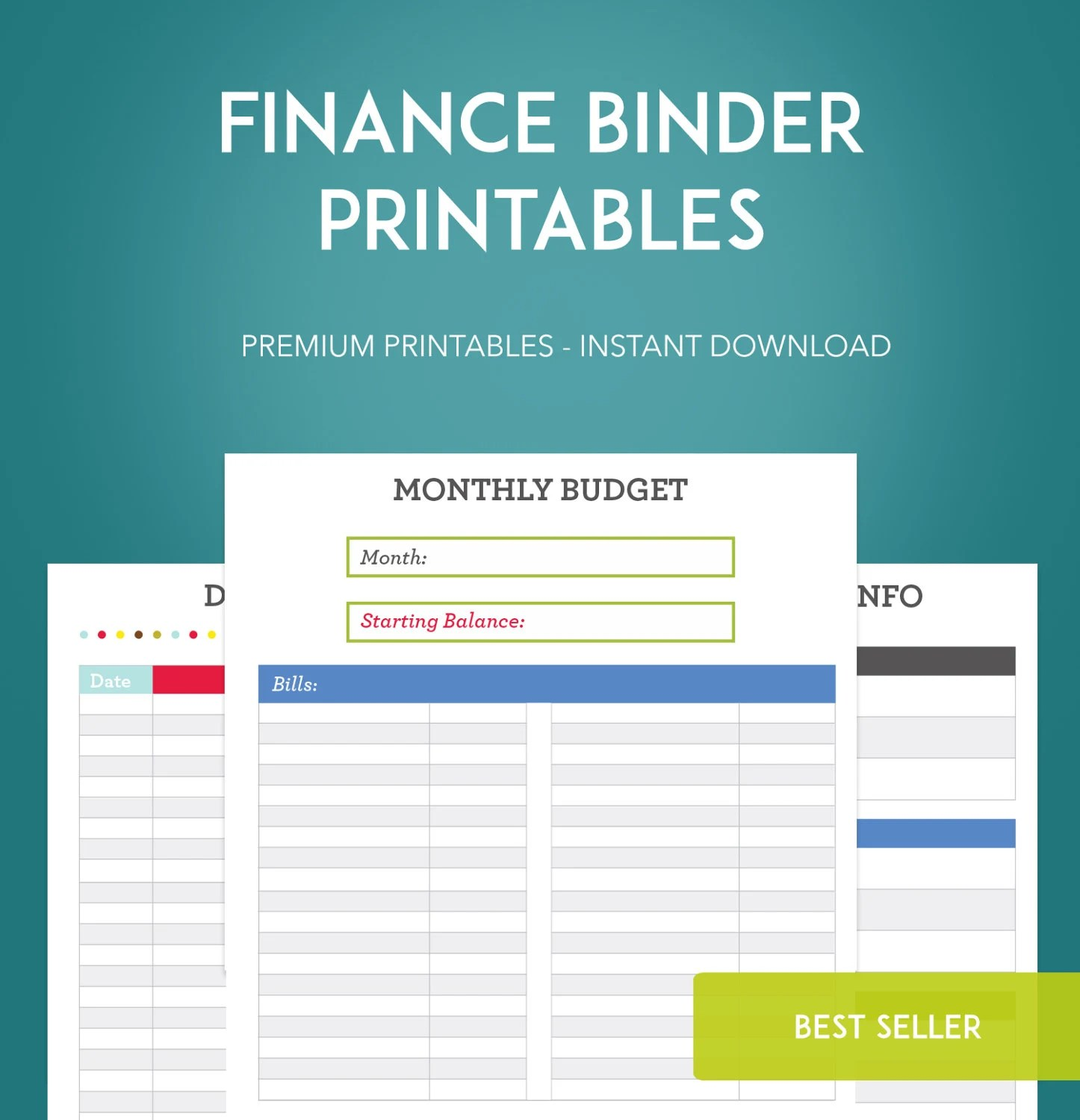 Finance Binder Printable Pages Instant Download Budget