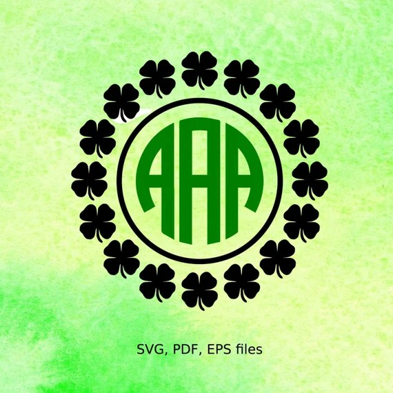 Download Shamrock Circle Monogram SVG Frame St Patricks day svg file