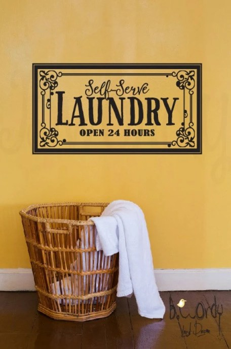 Self Serve Laundry Wall Decal by bwordy
