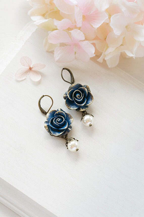 Navy Blue Rose Earrings With Cream White Pearl Gold Navy Blue