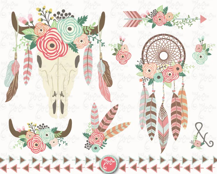 Hippie Flowers Clip Art Border
