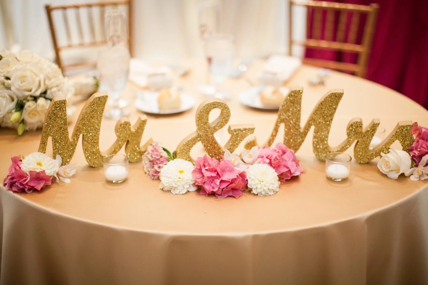 Gold Glitter Mr And Mrs Signs Wedding Sweetheart Table Decor