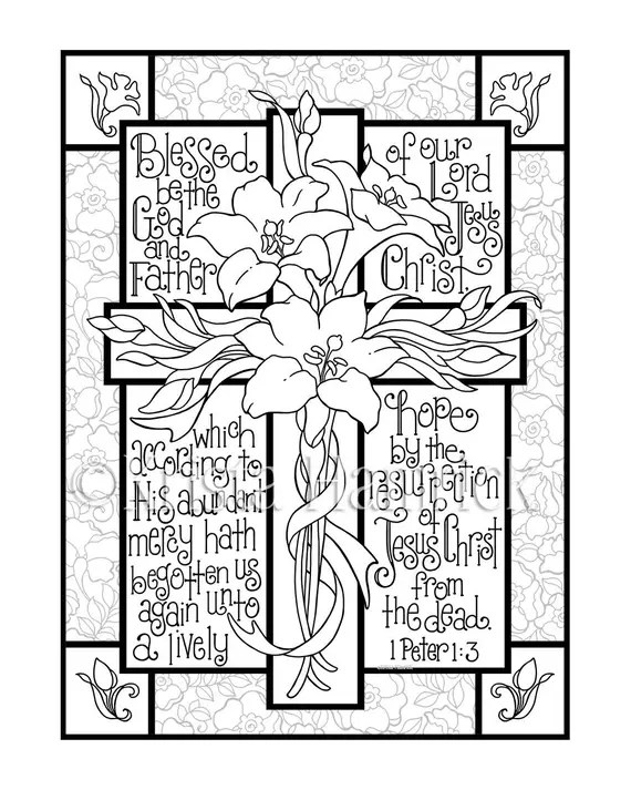 easter lily cross coloring page in two sizes 8.5x11 bible