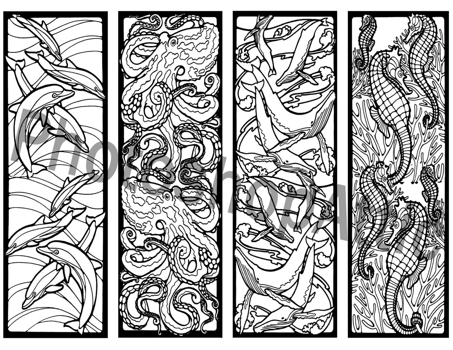 Mosaic Ocean Life Bookmarks Coloring Printable Page Sheet PDF