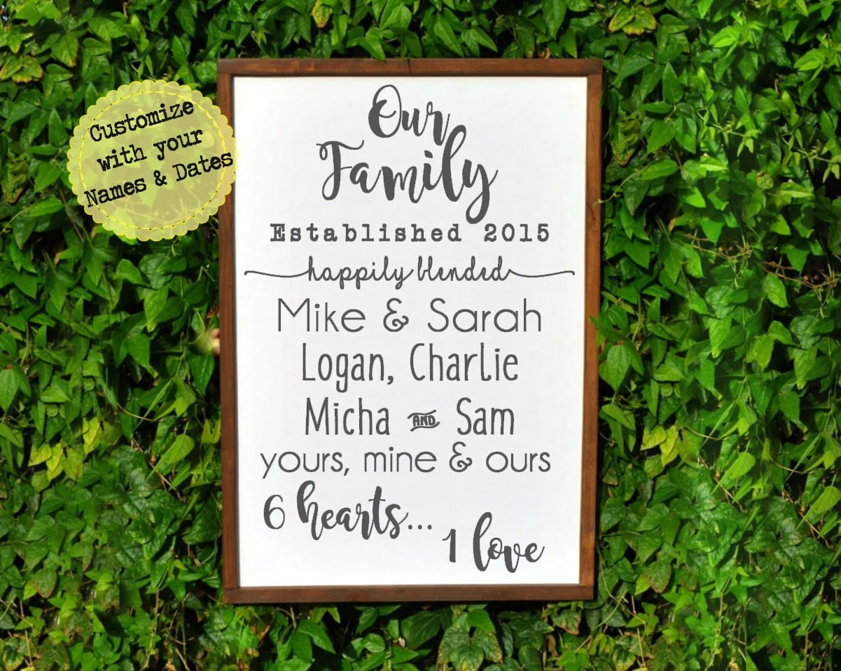 Blended Family Wedding Gift Sign Family Sign Happily Blended