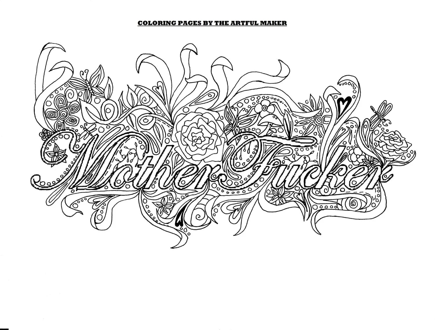 Motherfucker Adult Coloring Page By The Artful Maker
