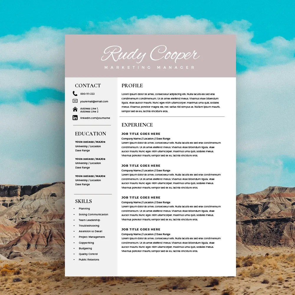 Resume Service Resume Creator Online Resume Maker Build my Professional Resume Template Instant Download  1   2 Page Resume Template  for MS Word  DIY Resume Template  Modern and Creative Design