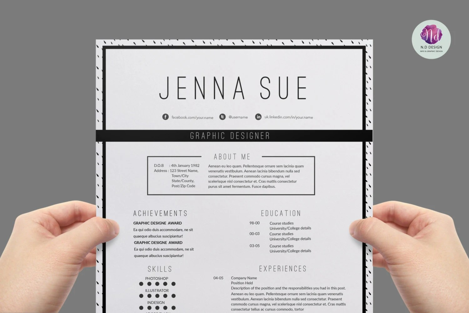 Modern Resume Template Ink Dot Background Cover Letter
