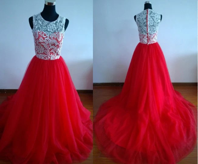 Red Prom Dress Long Prom Gown Ball Gown Dress Lace Prom Dress