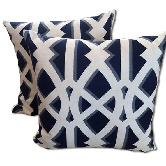 Navy blue  and White large trellis pillow covers