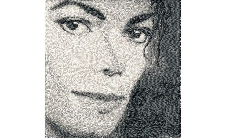5x7 hoop photorealistic MICHAEL JACKSON Machine Embroidery Design File, digital download
