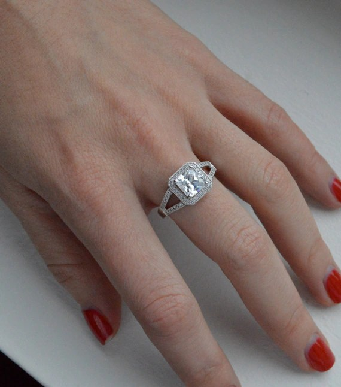 14K Gold French Set Princess Cut Engagement Ring Split Shank