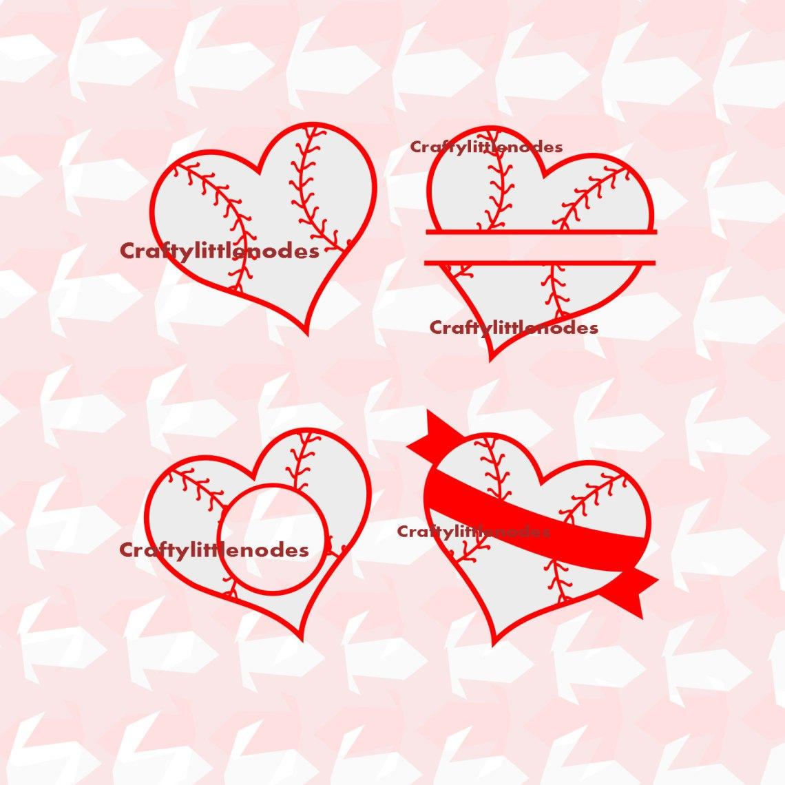 Download Baseball Heart SVG STUDIO Ai EPS set Instant Download Monogram