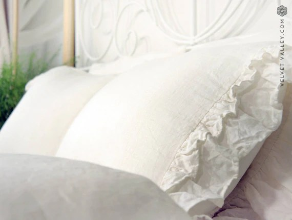 Stone Washed Linen Cover With Ruffles