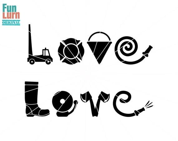 Download Firefighter Love SVG fire truck pail hose bellaxe Love