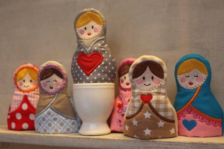 4x4 hoop set - matroyska egg warmers - In The Hoop - Machine Embroidery Design File, digital download