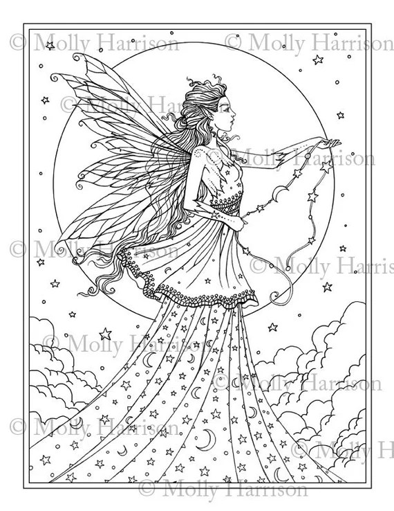 celestial goddess coloring page printable fantasy fairy