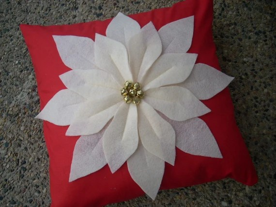 felt poinsettia on red 16 x 16 Pillow Cover - FREE SHIPPING