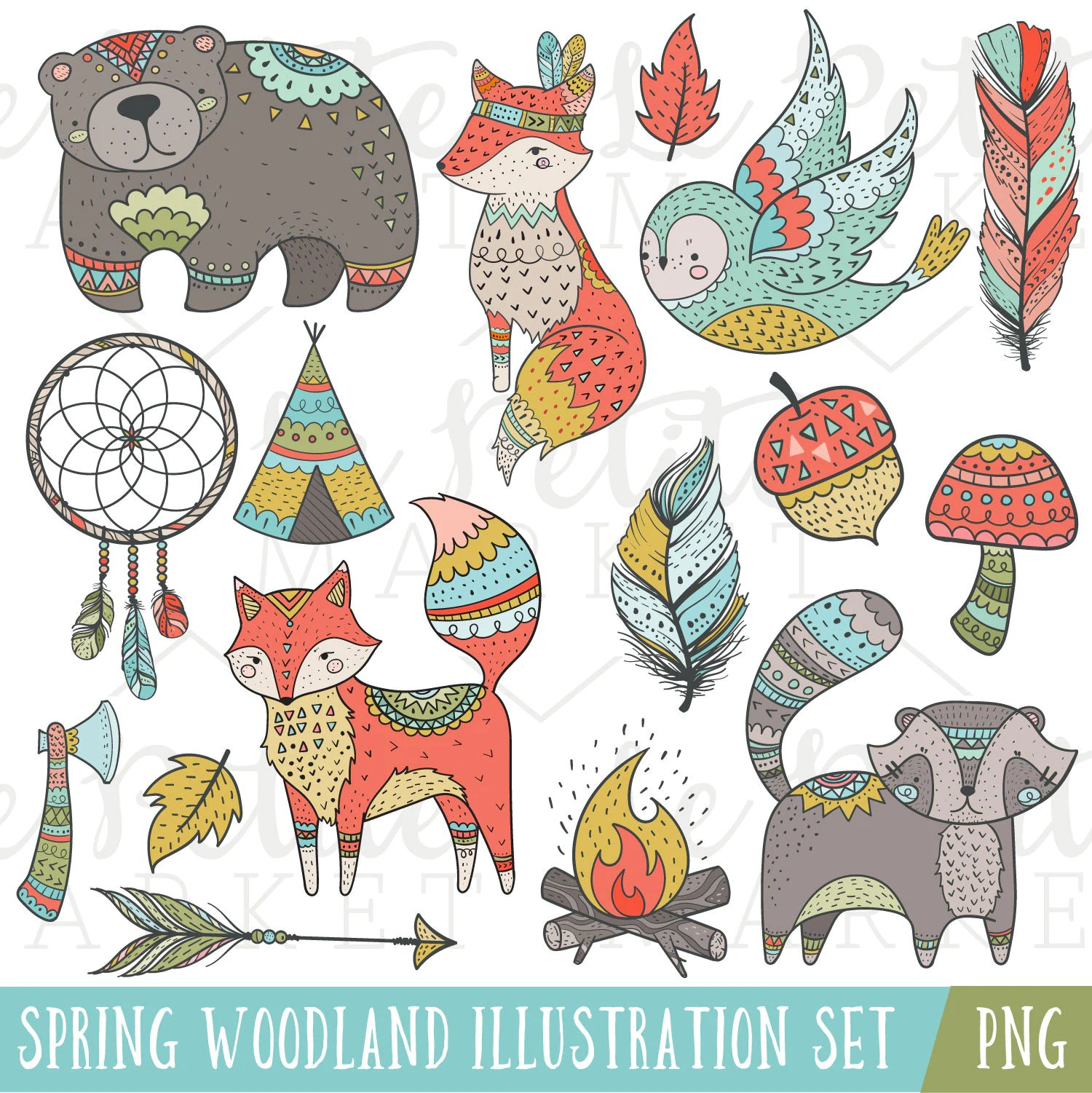 Tribal Woodland Clip Art Tribal Animals Woodland Clipart