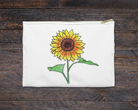 Sunflower Pencil & Accessory Pouch - Great Back to School Gift for Teachers and Students - Available in Small or Large