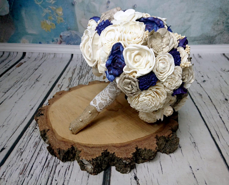 Bridal Ivory Cream Grey Dark Blue Rustic Wedding BOUQUET