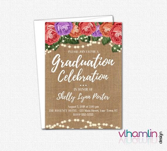 Burlap Roses & Sparkles Graduation Invites