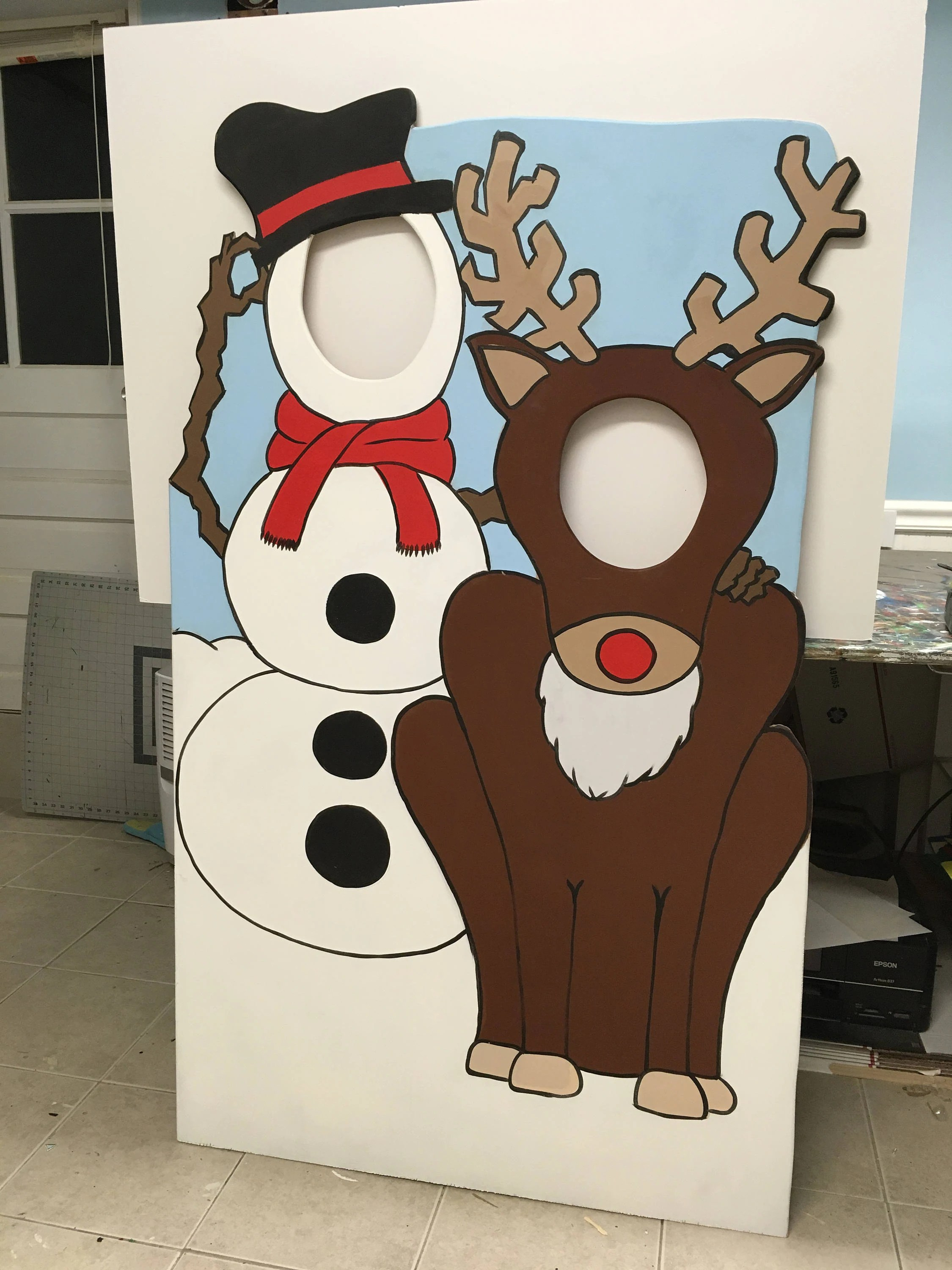 Frosty Photo Booth Prop Christmas Party Decor Face In Hole