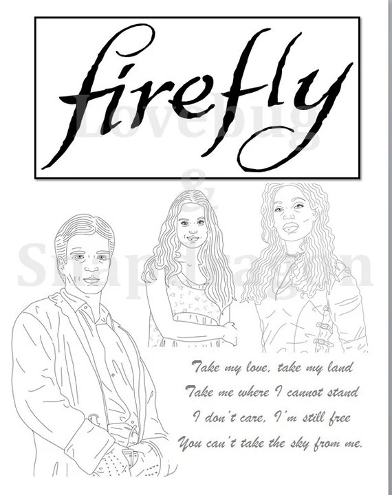 firefly & serenity coloring book // instant printable digital